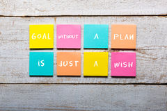 Goal without a plan is just a wish - motivational handwriting Royalty Free Stock Images