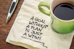 Goal without plan is just wish Royalty Free Stock Photos