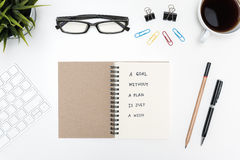 A goal without a plan is just a wish on notebook Stock Images