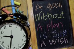 A Goal Without A Plan Is Just A Wish on phrase colorful handwritten on chalkboard royalty free stock photos