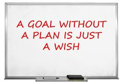 A goal without a plan is just a wish, white board royalty free stock images