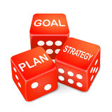 Goal, plan and strategy words on three red dice Royalty Free Stock Images