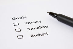 Goal/Planning sheet . . Stock Image