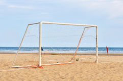 Goal Post on the beach Stock Photo