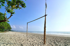 Goal post at the beach Royalty Free Stock Image