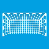 Goal post icon white. Isolated on blue background vector illustration Stock Images