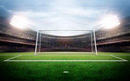 Goal post. An imaginary stadium and goal post are modelled and rendered stock photography