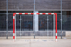 Goal post on urban football field Royalty Free Stock Photo