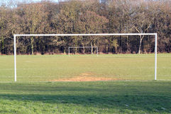 Goal posts on a soccer pitch. Royalty Free Stock Image