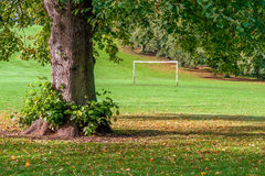 Goal posts in urban play park. Royalty Free Stock Photo