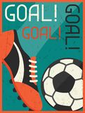 Goal! Retro poster in flat design style Royalty Free Stock Photos