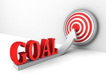 Goal rising up arrow to success target center. Concept 3d render illustration Royalty Free Stock Photography