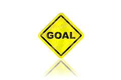 Goal road sign with reflection Royalty Free Stock Images