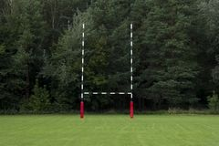 Goal on a rugby court. Emty rugby field.  stock photos
