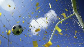 Goal scored in football match and confetti. Animation of a goal scored in a football match with blue sky in the background and golden confetti falling stock video