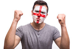 Goal scream emotions of Englishman football fan in game support of England national team Stock Image
