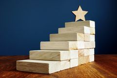 Goal setting and achievement. Star and stairs from wood. Goal setting and achievement. Star and wooden stairs stock photos
