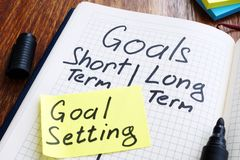 Goal setting concept. Memo stick with list of goals. In the note royalty free stock image