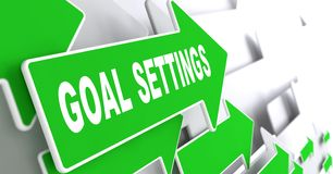 Goal Settings on Green Direction Arrow Sign. Royalty Free Stock Photography