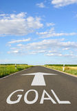 Goal sign on open roadway Stock Images