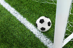 Goal. Soccer ball in goal area. Royalty Free Stock Photo