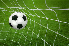 Goal. a soccer ball in a net. Stock Photography