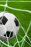Goal. Soccer ball in a net. Soccer ball in a goal net. Success Royalty Free Stock Images