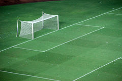 Goal soccer field. Goal area in soccer empty field by night Stock Photo