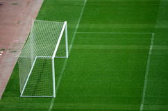 Goal and Soccer Field during Soccer Game Royalty Free Stock Photography