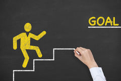Goal Step Concepts Drawing on Chalkboard Royalty Free Stock Photography