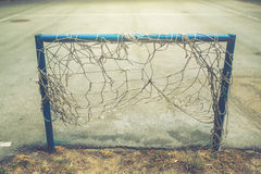 Goal for street soccer game. On empty pitch, selective focus Stock Photos