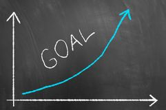Goal successful reaching concept on blackboard or chalkboard stock photography