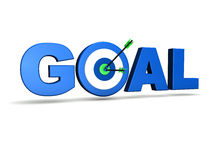 Goal Target. Goal concept with target and two arrows on green centre. On white background Stock Image
