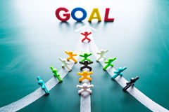 Goal and Teamwork concept. Group of people with the same goal Royalty Free Stock Photos
