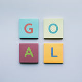 Goal text on colorful notepaper. Goal text on colorful of notepaper Stock Photo