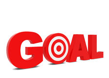 Goal text. 3d illustration isolated on white background Royalty Free Stock Photos
