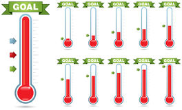 Goal Thermometer. Customizable goal thermometer with multiple levels of fill and multiple arrow styles