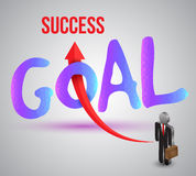 Goal to success with business man icons Stock Images