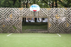 Goal of an urban soccer field. The goal of an urban soccer field in Antwerp, Belgium Royalty Free Stock Photography