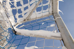 Goal in the winter. Soccer goal in a lot of snow Royalty Free Stock Photography