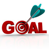 Goal Word - Arrow in Target. The word Goal with an arrow shot into the target within the letter O Stock Image