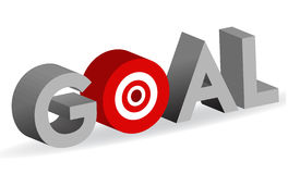 Goal word with bullseye target sign Stock Image