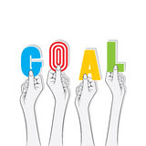 Goal word hold in hand concept Royalty Free Stock Photo