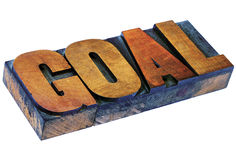 Goal word in letterpress wood type Stock Image