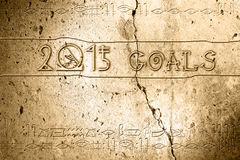 2015 goal. Word 2015 goal on wall with egyptian alphabet made in 2d software Stock Photos