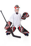 Goaler d'hockey de jeune adolescent images libres de droits