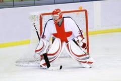 Goalie do hóquei de gelo fotografia de stock