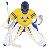 Goalie do hóquei de Sweden da equipe Fotografia de Stock