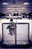 Goalie do hóquei do gelo foto de stock royalty free