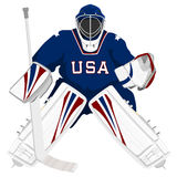 Goalie do hóquei dos EUA da equipe Foto de Stock